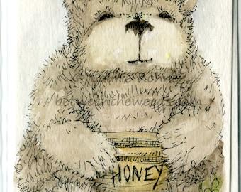 Teddy Bear Honey Pot Blank Card Watercolor Ink Original Art
