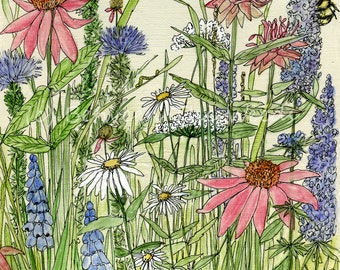 Wildflowers Watercolor and Ink Botanical Garden Flowers Nature Art