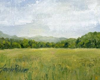 Vermont Oil Painting Landscape Fields Pasture Mountains Sky Realism Miniature Original Nature Art