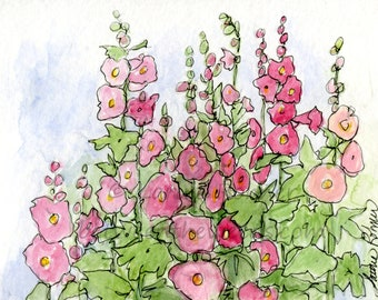 Pink Hollyhock Watercolor Ink Painting Cottage Garden Illustration with White Matte Package