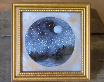 Celestial Sky Original Watercolor Woodland Evening Nighttime Landscape Framed Nature Art Gold Leaf Accents Full Moon Stars