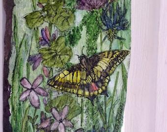 Butterfly Flowers Painted Slate Watercolor Garden Wildflowers Original Art Botanical Nature