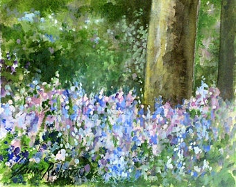 Bluebells Botanical Watercolor Garden Landscape Nature Art Original Painting Woodland Flowers