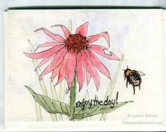 Flower Blank Card Watercolor Ink Original Art