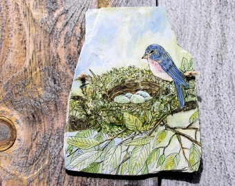 Bluebird Watercolor Painted Slate Nature Bird Nest Functional Art