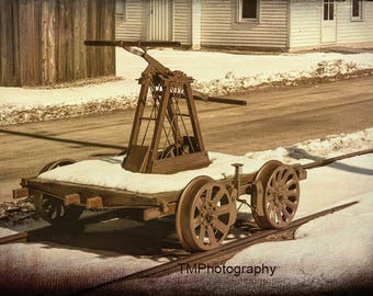Handcar - Vintage Handcar - Pump Trolley - Pump Car - Railroad - Train - Train Station - Railroad Station  - Fine Art Photography