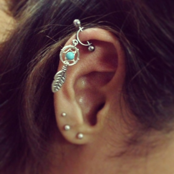 Helix Cartilage Bar Earring Ear Piercing 40g Dream Catcher Etsy Delectable Dream Catcher Nose Ring