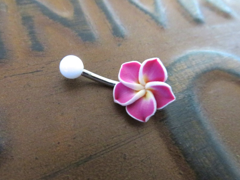 Belly Button Ring Jewelry Magenta Hawaiian Flower Belly Etsy