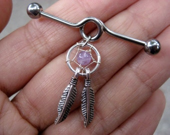 Industrial Barbell 14g Earring, Industrial Piercing Barbell Dream Catcher Feather Charm Amethyst Dreamcatcher Dangle 14 Gauge 14g G Bar