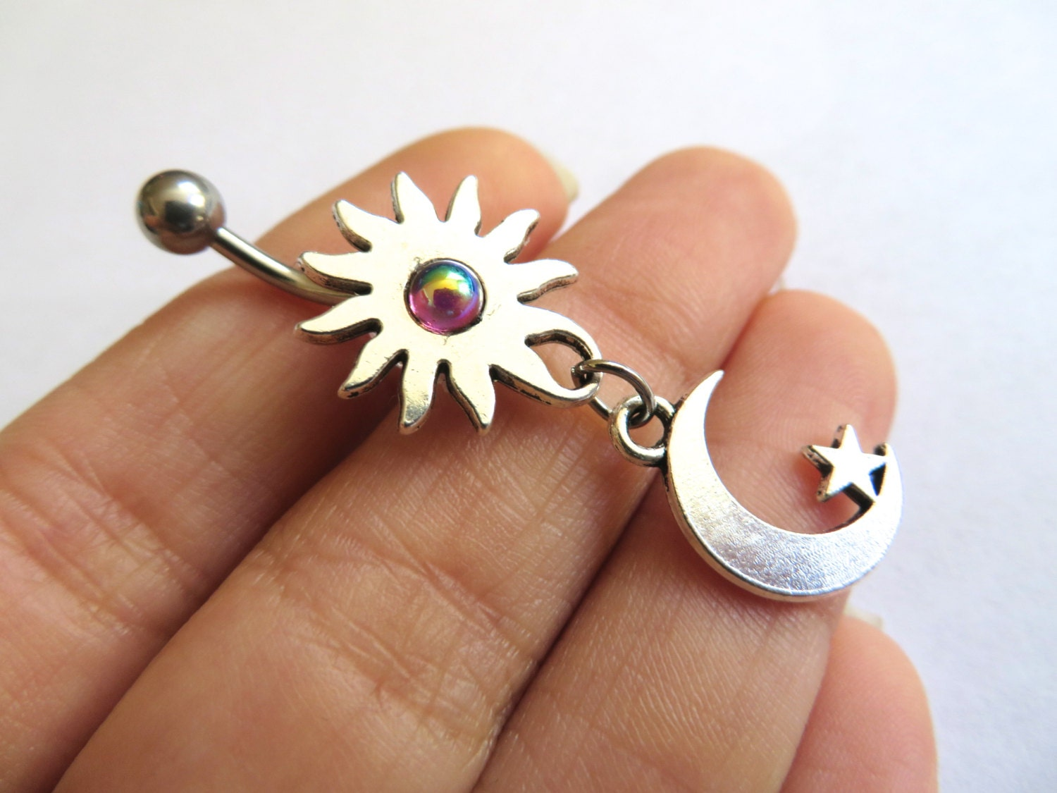 Belly Button Ring Jewelry Celestial Moon Star And Sun Blue Opal Rainbow Garnet Stone Belly Button Ring Jewelry Charm Dangle Navel Piercing