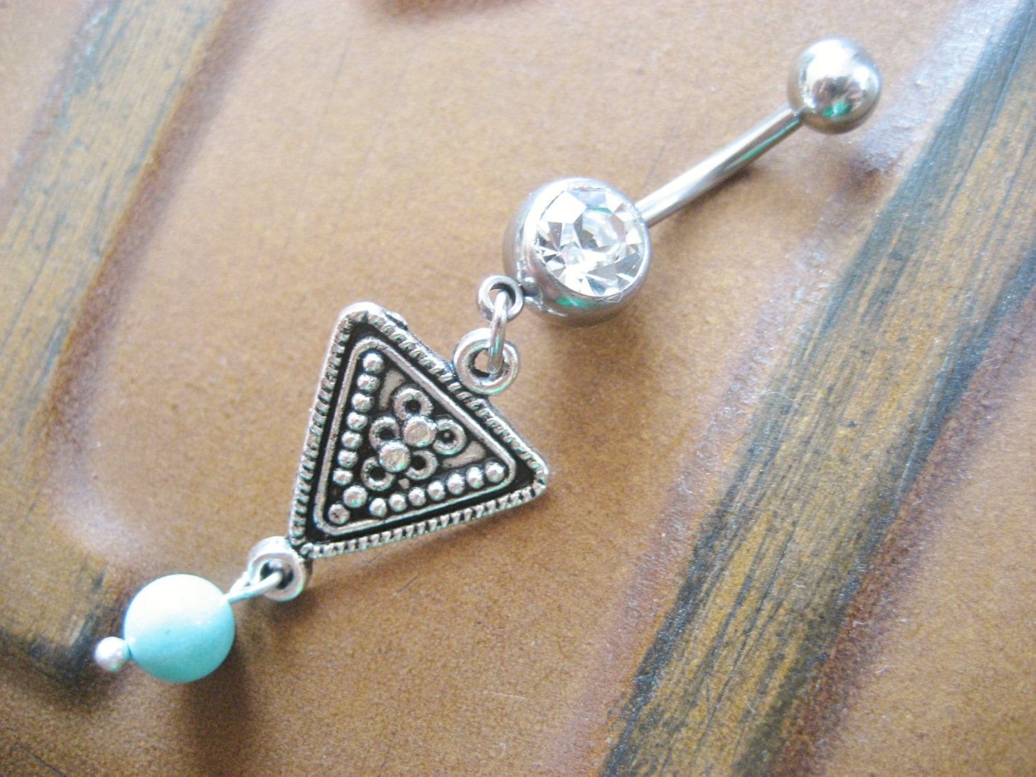 Belly Button Ring Jewelry Tribal Triangle Belly Button Jewelry Ring Piercing Turquoise Beaded Navel Bar Barbell Belly Button Ring Jewelry