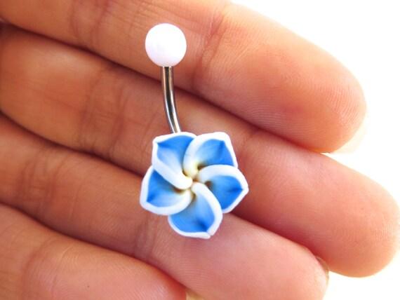 Belly Button Ring Jewelry Blue Hawaiian Flower Plumeria Belly Etsy