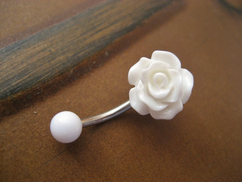 Belly Button Ring Jewelry Rose Belly Button Ring Jewelry White Rose Bud Rosebud Flower Navel Piercing Bar Barbell Belly Button Jewelry