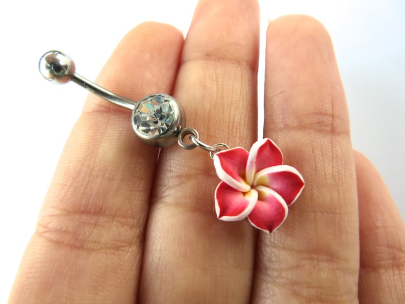 Belly Button Ring Jewelry Red Hawaiian Hibiscus Flower Etsy