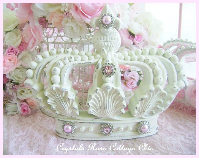 shabby chic crown wall decor fleur de lis distressed french etsy. Black Bedroom Furniture Sets. Home Design Ideas