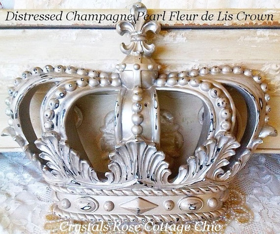 Champagne Pearl Distressed Fleur De Lis Wall Or Bed Crown | Etsy
