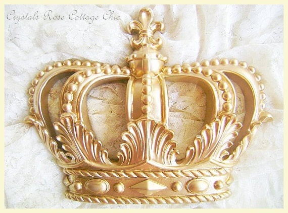 Glamorous Gold Fleur de Lis Wall Decor or Bed Crown Canopy