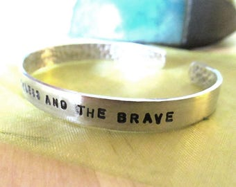 Custom Customized Statement or Lyric Bracelet - Hand Stamped With Your Message Outside or Secret Message Inside