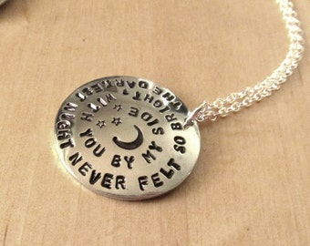 5SOS The Darkest Night Never Felt So Bright With You By My Side - Lyric - Hand Stamped Necklace or Keychain Moon Stars