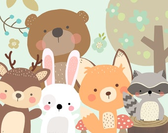 Cute Bears, woodland, animals Clipart, woodland illustration, fox, raccoon, bunny - COMMERCIAL USE OK