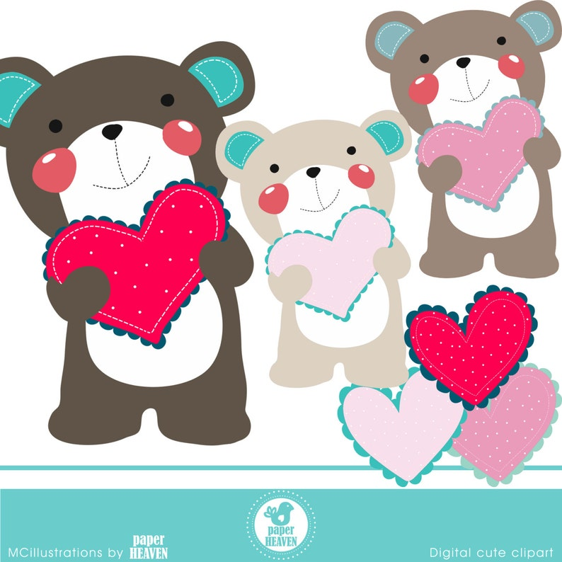COMMERCIAL USE OK A bear with love cliparts
