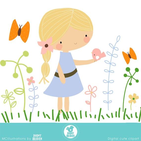 I Love Nature Girl Clipart Flower Clipart Nature Clipart Etsy