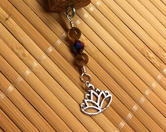 Lotus Wine Cork Ornament Beaded Key Chain Decoration - Up-cycled Recycled Key Ring Gift