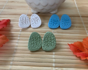 Statement Stud Earrings, Handmade Polymer Clay Ivory, Green or Blue Post Earrings, Jewelry for Women, Bridesmaids Gifts, Autumn Collection