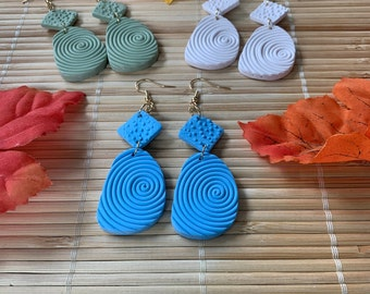 Bohemian Dangle Earrings, Fall Collection, Green, Blue or Ivory Polymer Clay Earrings, Handmade Boho Statement Jewelry, Gifts for Her