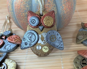 Steampunk Owl Christmas Ornament, Handmade Clay Holiday Ornament, Multiple Styles, Industrial Halloween Fall Decoration, Hostess Gifts