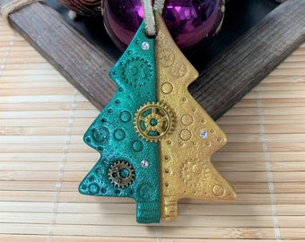 Green & Gold Steampunk Christmas Tree Ornament, Multiple Styles, Handmade Clay Ornament, Hostess Gifts, Small Presents, Housewarming