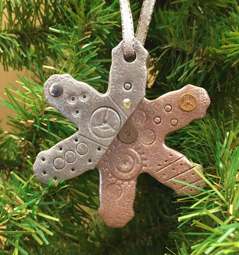 Winter Steampunk Snowflake Ornament Industrial Style Mixed Media Sparkle Decor style 8