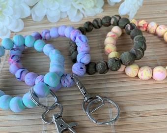 Beaded Keychain Wristlet, Boho Clay Wrist Key Ring for Women, Chunky Handmade Key Chain Bracelet, Bridesmaid  Gifts for Her, Teachers