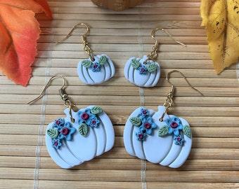 White Pumpkin Dangle Earrings, Polymer Clay Drop Earrings, 2 Styles, Handmade Autumn Earrings, Fall Boho Jewelry, Gifts for Her Wedding