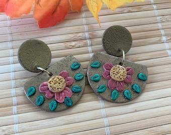 Silver or Gold Flower Dangle Earrings,  Autumn Metallic Drop Earrings, Handmade Earrings, Statement Studs, Steampunk Boho Polymer Earrings