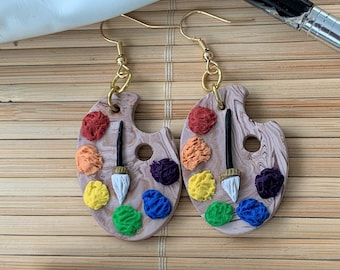 Artist's Paint Palette Dangle Earrings, Polymer Clay Drop Earrings for Women, Handmade Painter Earrings, Rainbow Boho Art Teacher Gifts