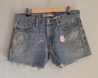 Levi's Cutoff Shorts with Paint Splatter and Stud Detail // Denim Shorts
