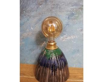Ceramic Bedside Lamp, Table Lamp, Rustic  Design, Functional Art, Decorative Lighting, Dark Blue, Emerald Green, Degrade Coloured