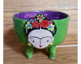 Frida Kahlo Bright Green, Colorful Ceramic Footed Bowl, Plant Pot, Handbuilding Colorful Woman Patterned Bowl