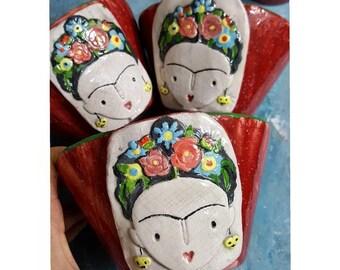 Frida Kahlo Red Ceramic Bowl, Plant Pot, Handbuilding Colorful Woman Patterned Bowl