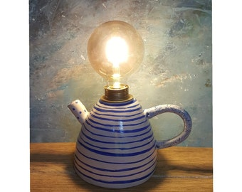 Teapot Form, White and Blue,Ceramic Kitchen,Dining Lamp, Table Lamp, Rustic  Design, Functional Art, Decorative Lighting