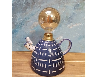 Teapot Form, Cobalt Blue and White, Ceramic Kitchen,Dining Lamp, Table Lamp, Rustic  Design, Functional Art, Decorative Lighting