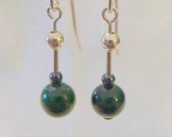 Malachite and Hematite Sterling Silver Dangle Earrings