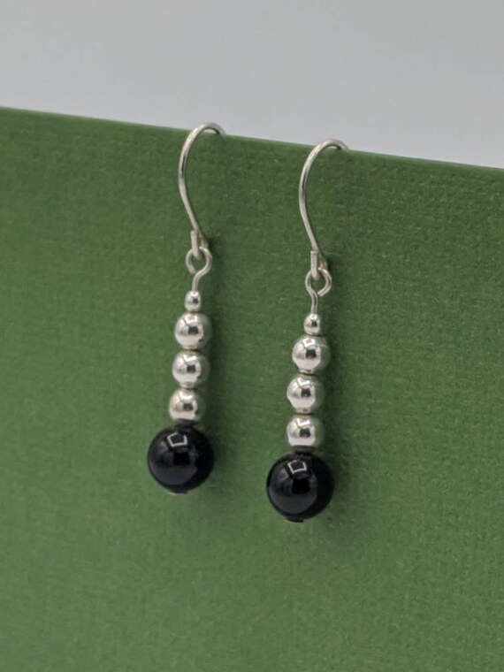 Sterling Silver /& Onyx Pendulum Earrings  Long Onyx Dangle Earrings  Designer Onyx Earrings for Her