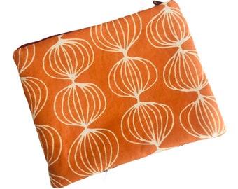 Medium Zipper Pouch  Orange Wildflowers