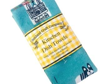 Flannel Tea Towels, Reusable Dish Towels, 100% Cotton Kitchen Towels, Kitschen Towels