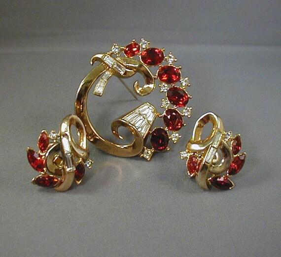 1950s Trifari Philippe Promenade Brooch Earrings S