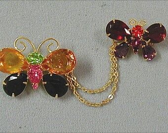 Joan Rivers Butterflies Chatelaine Brooches