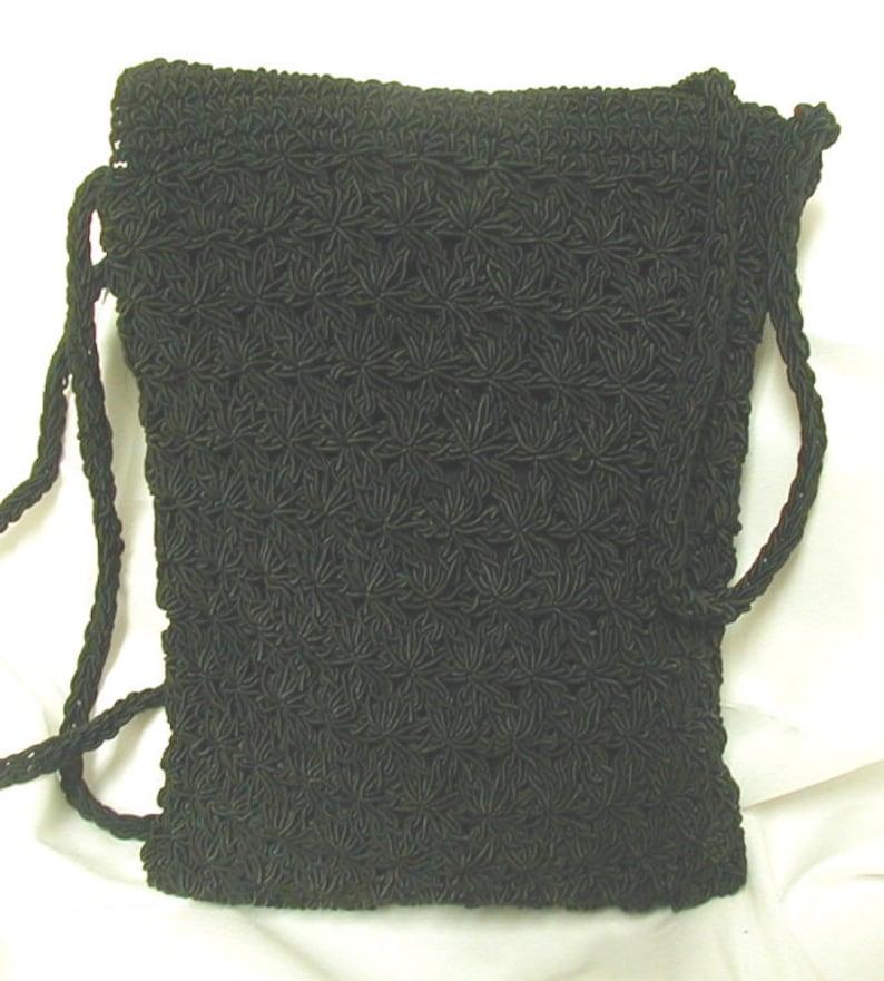 Vintage 1950s Black Crocheted Purse Cross Body