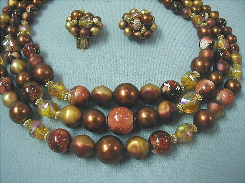 Hong Kong Bead Necklace and Earrings Set Copper Brown